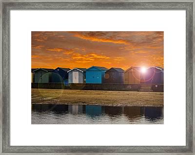 Traditional English Beach Huts Framed Print