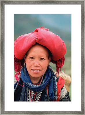 Traditional Fashion Of A Red Dzao Woman Framed Print