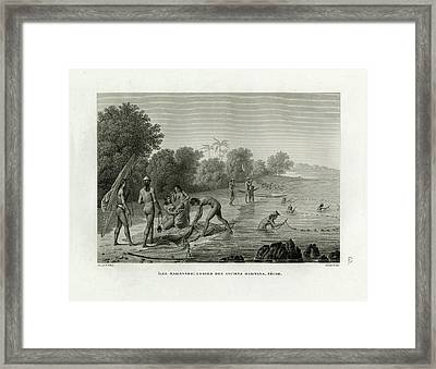 Framed Print featuring the drawing Traditional Fishing Methods On Guam by A Pelion