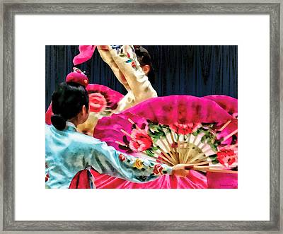 Traditional Korean Fan Dance Framed Print by Susan Savad