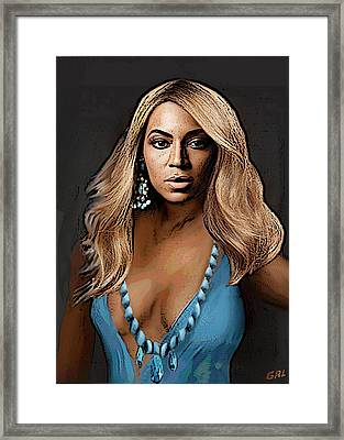 Traditional Modern Original Painting Beyonce In Turquoise Framed Print