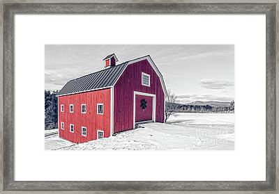 Traditional New England Red Barn In Winter Landscape Framed Print