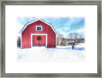 Traditional New England Red Barn In Winter Watercolor Framed Print by Edward Fielding