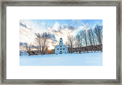 Traditional New England White Church Etna New Hampshire Framed Print by Edward Fielding