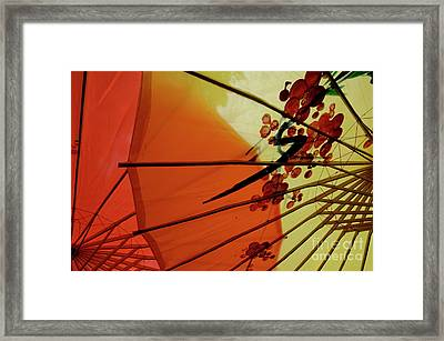 Traditional Red And Yellow Umbrellas Framed Print by Sami Sarkis