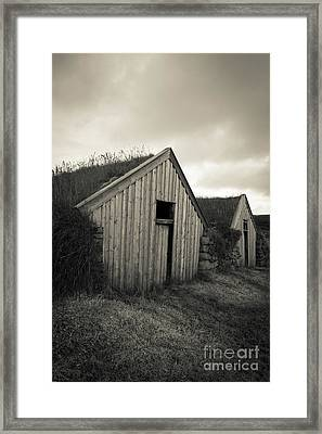 Traditional Turf Or Sod Barns Iceland Framed Print