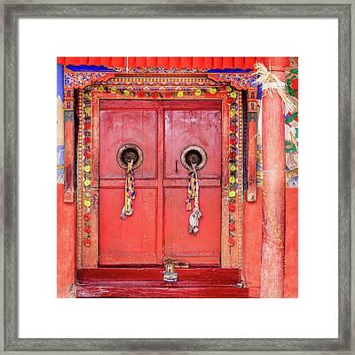 Traditional Tibetan Doors Framed Print