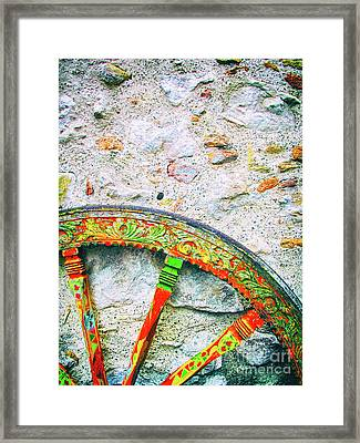 Framed Print featuring the photograph Traditional Sicilian Cart Wheel Detail by Silvia Ganora