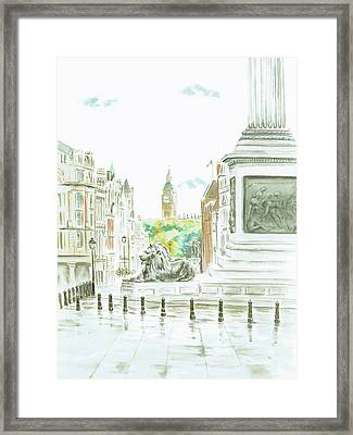Framed Print featuring the painting Trafalgar Square by Elizabeth Lock