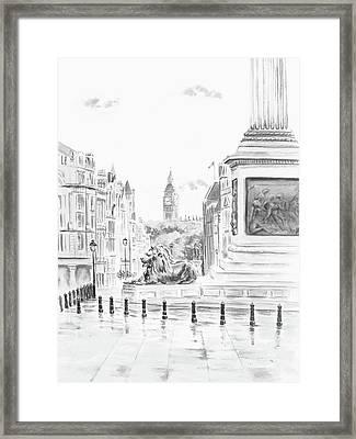 Framed Print featuring the digital art Trafalgar Square II by Elizabeth Lock