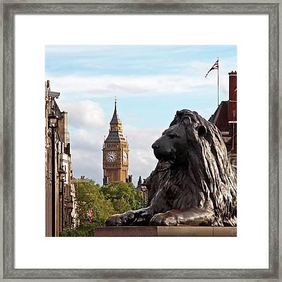 Trafalgar Square Lion With Big Ben Framed Print