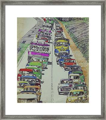 Framed Print featuring the drawing Traffic 1960s. by Mike Jeffries