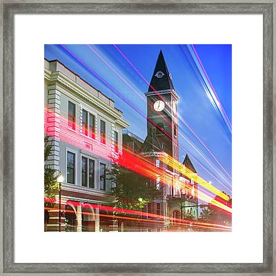 Traffic Along The Fayetteville Arkansas Skyline - Square Framed Print
