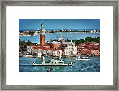 Traffic Around The Venetian Church Framed Print