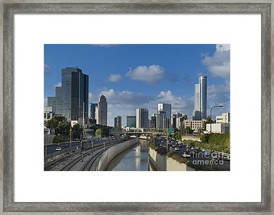 Traffic Flowing In And Out Of Downtown Tel Aviv Framed Print by Noam Armonn