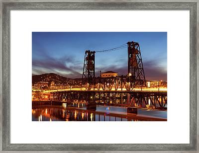 Traffic Light Trails On Steel Bridge Framed Print by David Gn