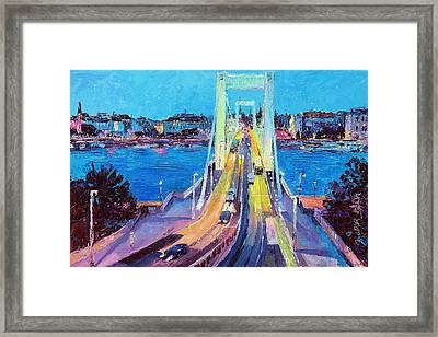 Traffic On Elisabeth Bridge At Dusk Framed Print