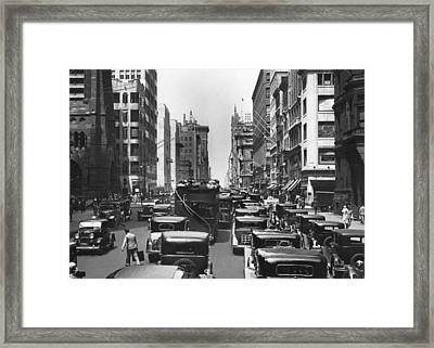 Traffic On Fifth Avenue Framed Print by Underwood Archives