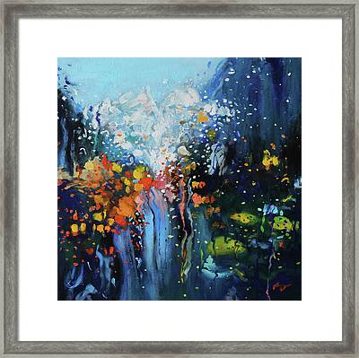 Framed Print featuring the painting Traffic Seen Through A Rainy Windshield by Dan Haraga