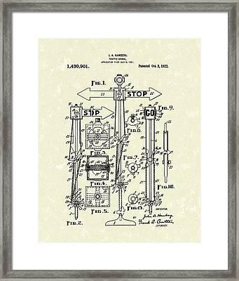 Traffic Signal 1922 Patent Art Framed Print