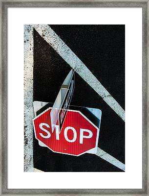 Traffic Signs And Lines Together Framed Print