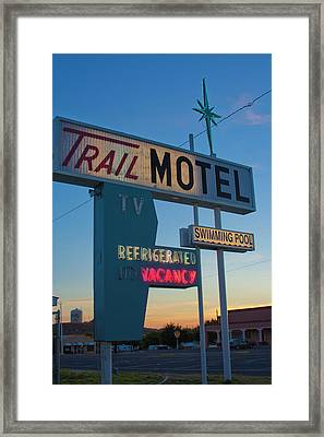Framed Print featuring the photograph Trail Motel At Sunset by Matthew Bamberg