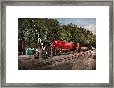 Train - Diesel - Look Out For The Locomotive  Framed Print by Mike Savad