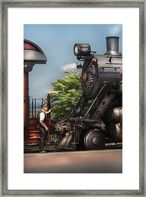 Train - Engine - Alllll Aboard Framed Print by Mike Savad