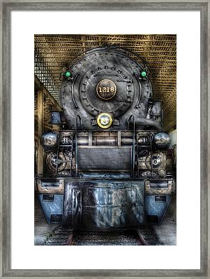 Train - Engine -1218 - Norfolk Western Class A - 1218 - Front View Framed Print by Mike Savad