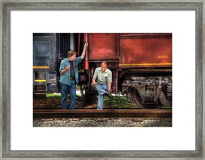Train - Yard - Shoot'in The Breeze Framed Print by Mike Savad