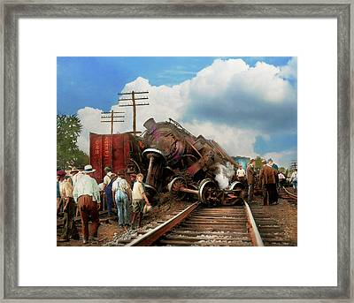 Framed Print featuring the photograph Train - Accident - Butting Heads 1922 by Mike Savad