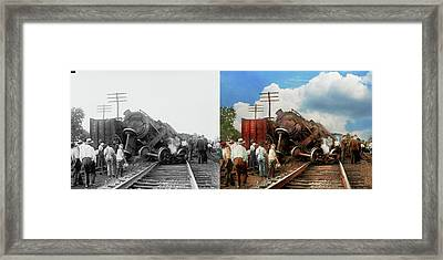 Framed Print featuring the photograph Train - Accident - Butting Heads 1922 - Side By Side by Mike Savad