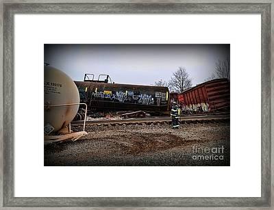 Train Accident Fireman And Hazmat Framed Print