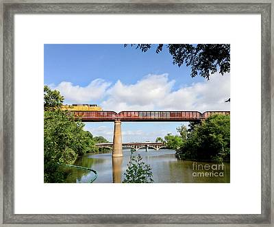 Train Across Lady Bird Lake Framed Print by Felipe Adan Lerma