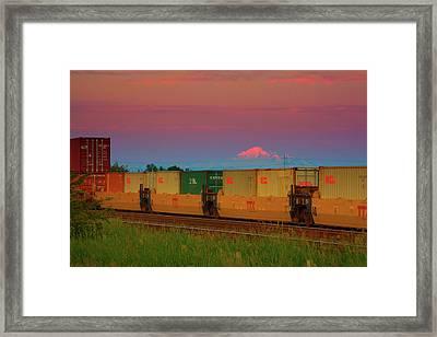 Train And Mount Baker Framed Print by Paul Kloschinsky