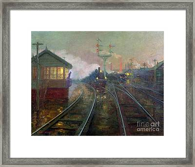 Train At Night Framed Print by Lionel Walden