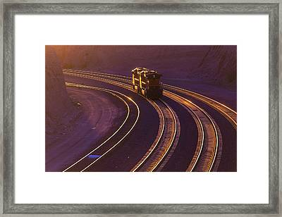 Train At Sunset Framed Print