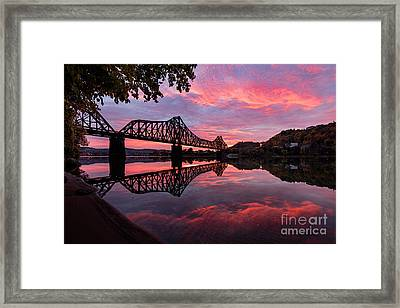 Train Bridge At Sunrise  Framed Print