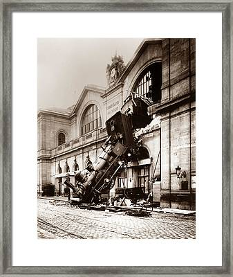 Train Derailment At Montparnasse Station - 1895 Framed Print