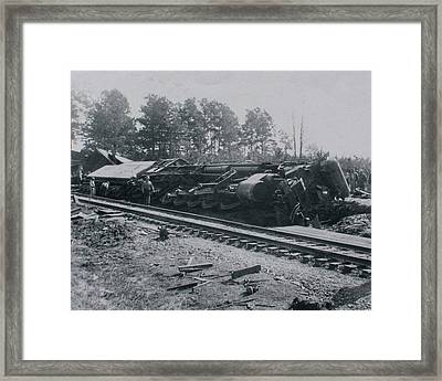 Framed Print featuring the photograph Train Derailment by Jeanne May