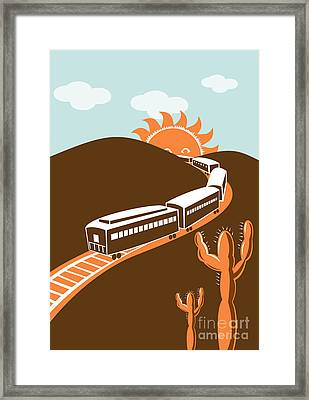 Train Desert Cactus Framed Print by Aloysius Patrimonio