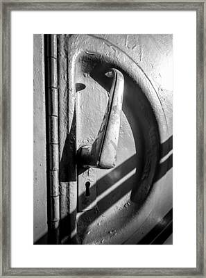Framed Print featuring the photograph Train Door Handle by John Williams