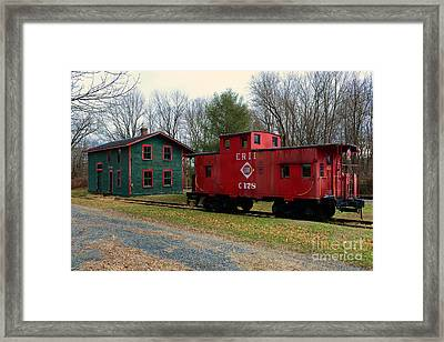 Train - Erie Rr Line Caboose Framed Print by Paul Ward