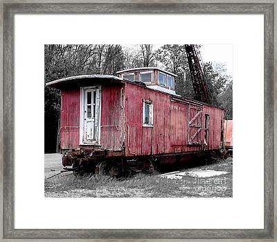 Train In Barn Red  Framed Print by Steven Digman