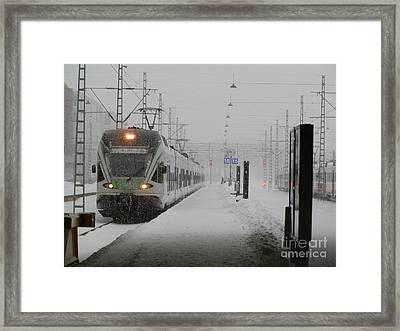 Train In Helsinki Framed Print