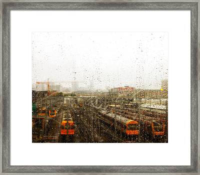 Train In The Rain Framed Print
