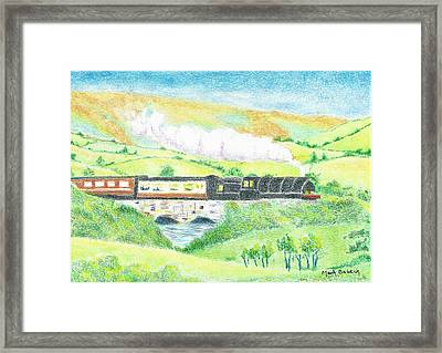 Train In The Valley Framed Print by Mark Babeck