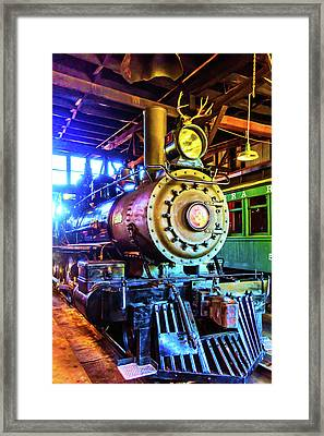 Train No 3 With Deer Antlers Framed Print by Garry Gay
