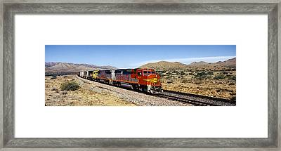 Train On A Railroad Track, Santa Fe Framed Print by Panoramic Images