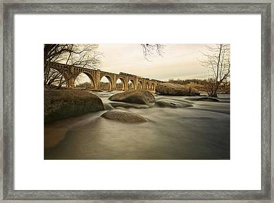 Train Over James River Framed Print by Tom Lynch Photography LLC